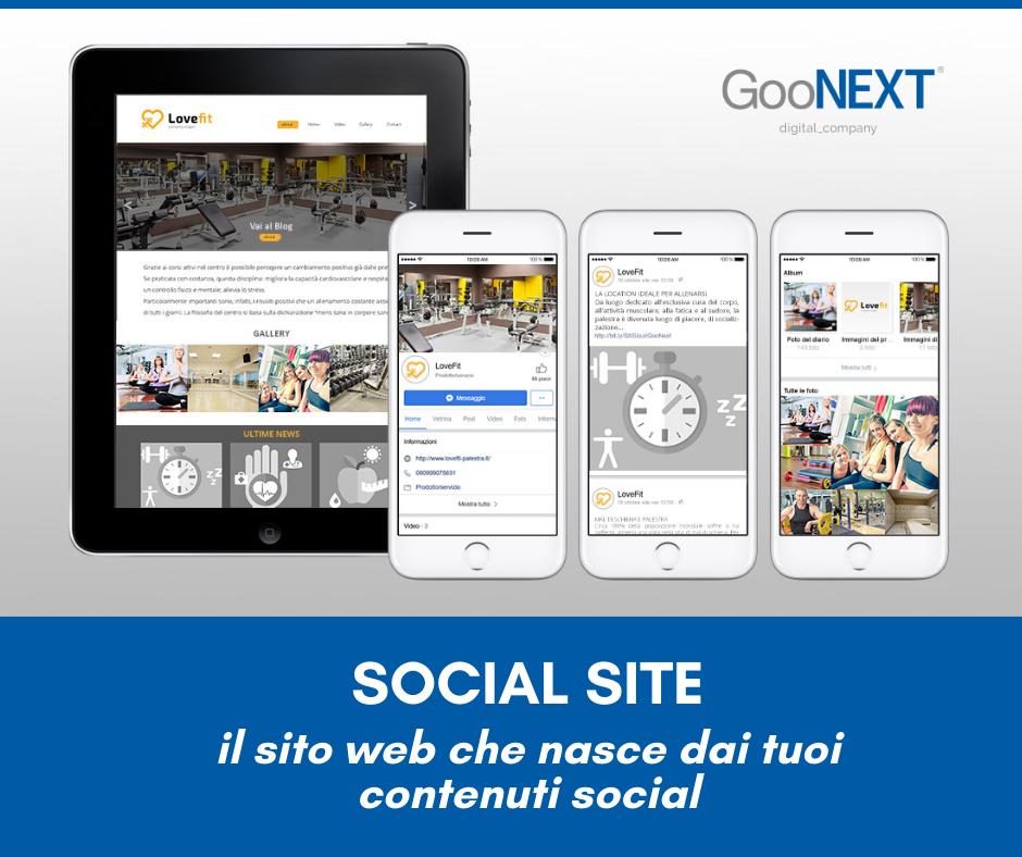 Goonext sito dai social